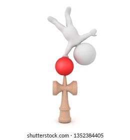 3D Character handstanding on kendama toy. 3D rendering isolated on white.