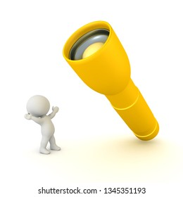 3D Character is happy next to a big flashlight. 3D rendering isolated on white.