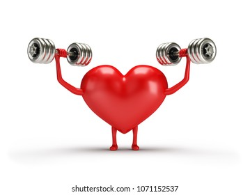 3d character heart doing exercises with dumbbells. 3d image. White background.