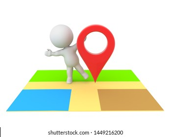 3D Character hiding behind location pin on map. 3D Rendering isolated on white.