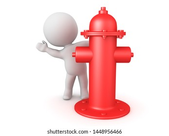 3D Character hiding behind red fire hydrant. 3D Rendering isolated on white.