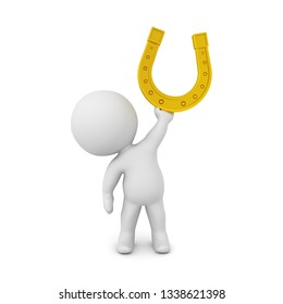 3D Character holding up a golden lucky horseshoe. 3D Rendering isolated on white.