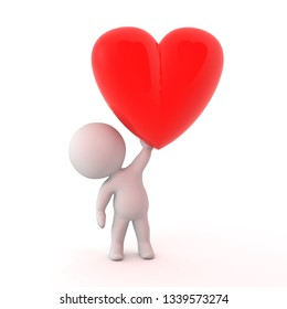 3D character holding up a large red heart shape. Isolated on white background.