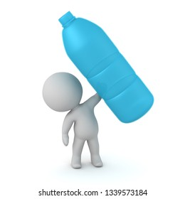 A 3D character holding up a large water bottle. Isolated on white background.