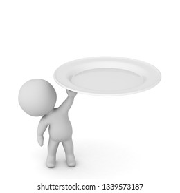 3D character holding up a large white plate. Isolated on white background.