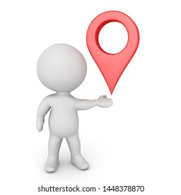 3D Character holding location pin in his hand. 3D Rendering isolated on white.