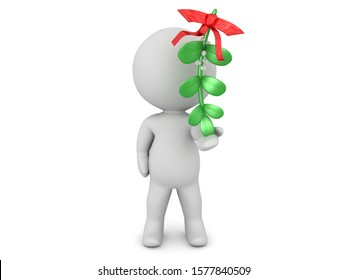 3D Character holding mistletoe in his hand. 3D Rendering Isolated on white.