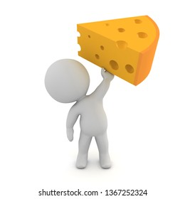 3D Character holding up a piece of cheese. 3D rendering isolated on white.