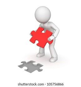 3D character holding the piece of a puzzle