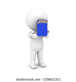 3D Character holding a SD Card. 3D Rendering isolated on white.