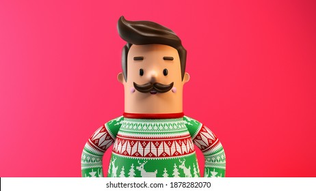 3d character illustration man with mustache in christmas sweater with shadow and reflection 3D rendering