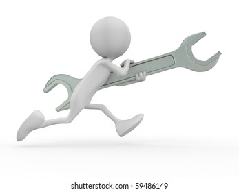 3d character keep wrench. 3d image isolated on white background.
