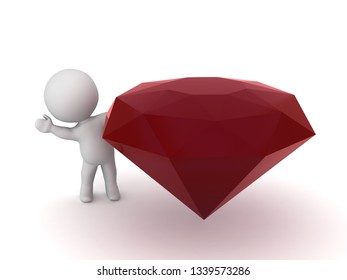 3D character with a large dark red gem. Isolated on white background.