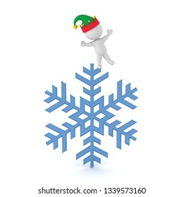 A 3D character with a large snowflake