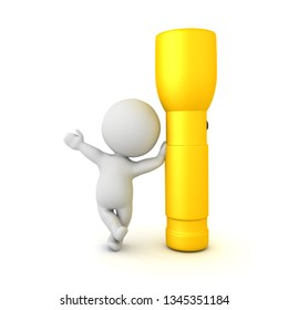 3D Character leaning on giant flashlight. 3D rendering isolated on white.