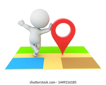 3D Character leaning on online map location pin. 3D Rendering isolated on white.