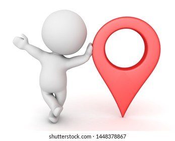 3D Character leaning on red location pin. 3D Rendering isolated on white.