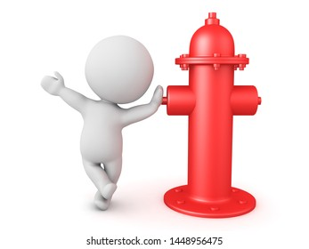 3D Character leaning on a red fire hydrant. 3D Rendering isolated on white.