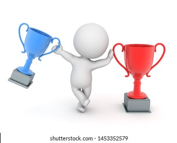 3D Character leaning on red trophy while holding red one. 3D Rendering isolated on white.