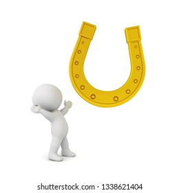 3D Character looking in awe at golden lucky horseshoe. 3D Rendering isolated on white.