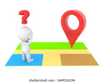 3D Character looking confused at location pin. 3D Rendering isolated on white.