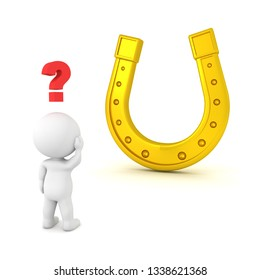 3D Character looking confused and lucky horseshoe. 3D Rendering isolated on white.