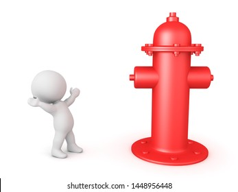 3D Character looking excited at big fire hydrant. 3D Rendering isolated on white.