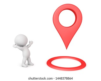 3D Character looking exicted at large red location pin. 3D Rendering isolated on white.