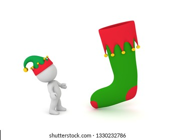 3D character looking up at a large Christmas stocking. Isolated on white background.