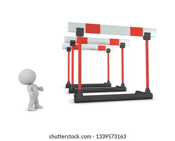 3D character looking up at large hurdles. Isolated on white background.