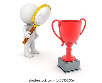 3D Character looking with magnifying glass at red trophy. 3D Rendering isolated on white.