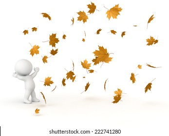 3D character looking up at many falling Autumn leaves, isolated on white