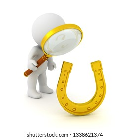 3D Character looking through a magnifying glass at golden lucky horseshoe. 3D Rendering isolated on white.