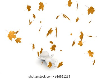 3D Character lying down while autumn leaves are flying around him. The leaves are yellow.