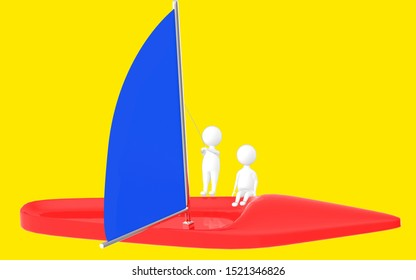 3d character , man sailing a boat- yellow  background - 3d rendering