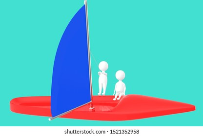 3d character , man sailing a boat- turquoise background - 3d rendering