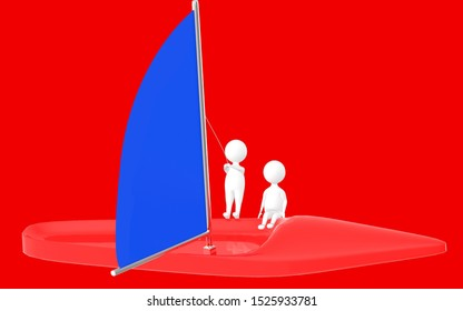 3d character , man sailing a boat- red  background - 3d rendering