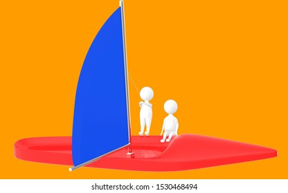 3d character , man sailing a boat- orange  background - 3d rendering