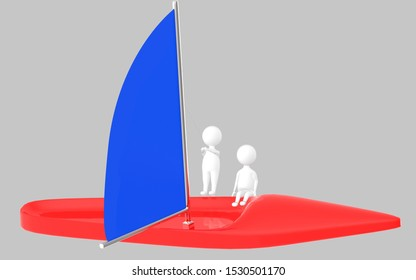 3d character , man sailing a boat- grey  background - 3d rendering