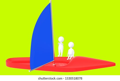 3d character , man sailing a boat- green  background - 3d rendering