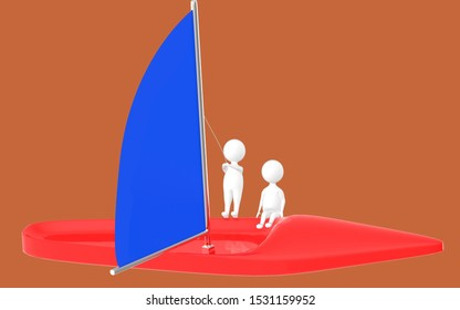 3d character , man sailing a boat- brown  background - 3d rendering