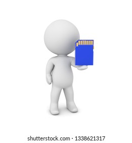 3D Character offering SD Card. 3D Rendering isolated on white.