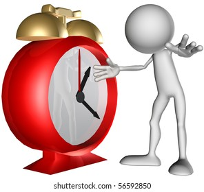 3d character on clock