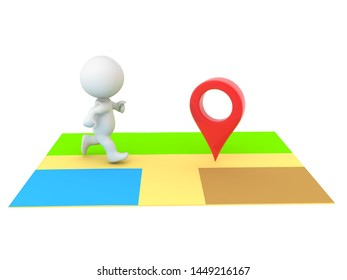 3D Character on online map running towards location pin. 3D Rendering isolated on white.