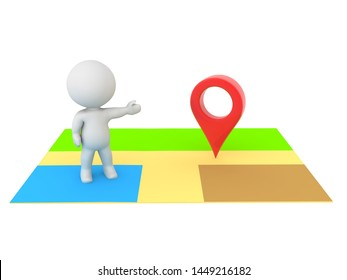 3D Character on online map showing location pin. 3D Rendering isolated on white.