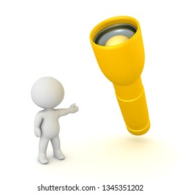 3D Character pointing toflashlight. 3D rendering isolated on white.