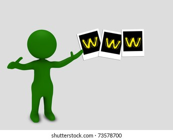 3d character pointing towards www sign