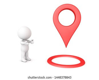3D Character presenting red location pin with circle. 3D Rendering isolated on white.