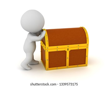 A 3D character is pushing a treasure chest. Isolated on white background.