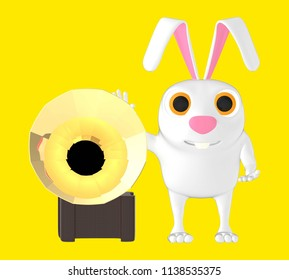 3d character , rabbit and gramaphone yellow background - 3d rendering
